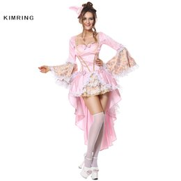Costumes De Luxe Pour Femmes Pas Cher-Kimring Sexy Costume D'Halloween pour les Femmes Gothique Versailles Deluxe Vixen Cosplay Rose Cosplay Mascarade Party Costume Robe