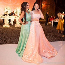 zuhair murad maternity dresses Australia - 3D Floral Blush Over Skirts Evening Dresses with Long Sleeves 2017 Zuhair Murad Square Middle East Arabic Elegant Occasion Prom Gowns Cheap