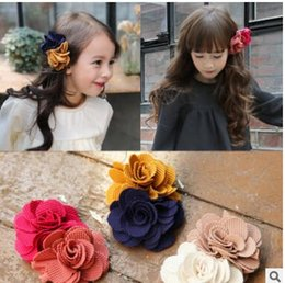 Hair Color Edges Australia - Girls camellia flower hair clips sweet double color floral barrettes edge clip hair accessories for party birthday gifts