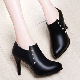 Ankle Chain Pumps NZ - With Box New leather Women Dress Shoes Heel Pointed Toes Ankle High Heel Classic women high heel shoes Chains female zip Shoes Size 34-40 31