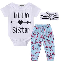 8c7d6932a INS Baby clothing Outfits Little sister Romper onesies Short sleeve +Floral  Pant+Headband 3pcs set 100% Cotton Wholesale Autumn