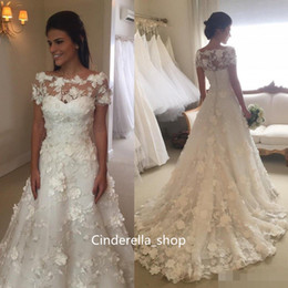 $enCountryForm.capitalKeyWord Canada - 2018 Fairy Wedding Dress With 3D Flower A Line Bateau Short Sleeve Sweep Train Illusion Bodice Long Country Bridal Gowns Arabic Plus Size