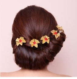 363e38913 Red Rose floweR haiR clips online shopping - wedding retro red hairpin gold rose  flowers pearl