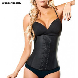 Barato Cintos De Látex Para Mulheres-Atacado- Almofada De Quadra De Latex Corset Plus Size Steel Bone Workout Cintura Cincher Mulheres Slim Body Shaper Girdles Corsets