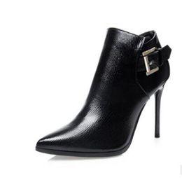 Mid Heels Wedding Shoes Canada - Women sexy high heel shoes lady elegant thin 100mm heel zipper mid calf half boots wedding shoes size 34-39