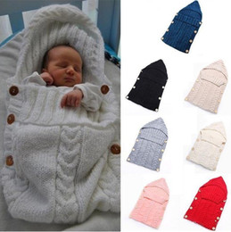 $enCountryForm.capitalKeyWord Canada - Warm Swaddle Wrap Baby Blanket Newborn Infant Knit Crochet Sleeping bag Knitted Soft Warm Wrap Blanket IB372