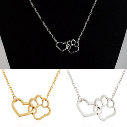 Wholesale Fashion Jewelry Dog Paws Canada - Good Quality Women Fashion 18K Gold Silver Dog Paw Claw Love Pendant Necklace Girl Alloy Heart Hollow Necklaces Charm Jewelry Accessories