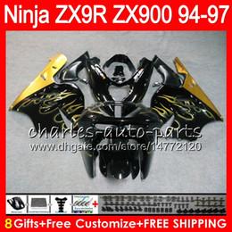 94 Kawasaki Fairing Kits Canada - 8Gifts 23Colors For KAWASAKI NINJA ZX900 ZX9R 94 95 96 97 900CC Gold flames 49HM22 ZX-9R ZX900C ZX 9 R ZX 9R 1994 1995 1996 1997 Fairing kit