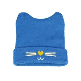 $enCountryForm.capitalKeyWord UK - baby Unisex Beanies Child Cat Design knit Ribbed Hats Kids Winter Warm Solid Color Caps Skullcap MZ5134
