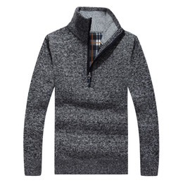 $enCountryForm.capitalKeyWord Australia - Wholesale- Thick Warm Winter Sweaters Coat Men's Zipper Pullover Cashmere wool Sweaters Man Casual Knitwear Fleece Velvet Clothing 50wy