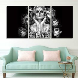 Painting Faces Australia - 3 Panel Prints Canvas Art Day of The Dead Sugar Skull Face Painting Wall Picture for Home Decor Living Room Bedroom