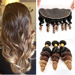 $enCountryForm.capitalKeyWord Canada - Ombre Hair Extensions Three Tone Brown Blonde 1B 4 27 Ombre Peruvian Loose Wave Human Hair Weave Bundles With 13x4'' Lace Frontal Closure