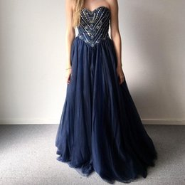 Barato Vestidos De Noite Querida Rhinestone-Sparkly Crystals Rhinestones Prom Vestido Dark Blue Tulle Beads Vestidos Africanos Party Evening Vestidos de cocktail formal Sweetheart Decote