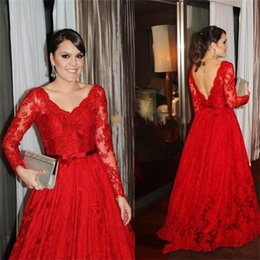Wholesale Newest V neck Red Long Sleeve Evening Dresses Prom Dresses Tulle Formal Evening Gowns Backless Vestido De Noche Special Occasion Dresses