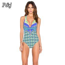 $enCountryForm.capitalKeyWord Australia - P&j One Piece Swimsuit 2017 Women Plus Size Swimwear Retro Vintage Bathing Suits Beachwear New Print Swim Wear Backless Monokini
