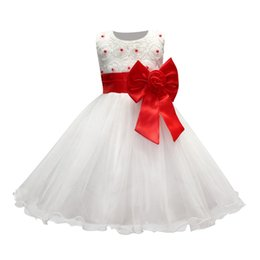 Barato Vestidos Baratos Do Natal Para Crianças-Cheap Flower Girl Dresses Mangas de boné Baby Girl Birthday Party Vestidos de comunhão de Natal Children Girl Party Dresses