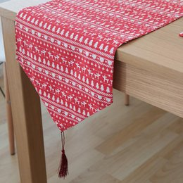 Country Table Runners 2018   BZ375 American Country Style Table Runner  Emerald Red Deer Linen Knitted