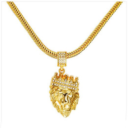 Discount necklace lion 2017 Hot Mens Hip Hop Jewelry Iced Out 18K Gold Plated Fashion Bling Bling Lion Head Pendant Men Necklace Gold Filled Fo
