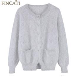 47b5f8b4d7 Mink sweaters online shopping - Women Fluffy Mink Cashmere Cardigan Brand  Spring Winter Round Neck Long