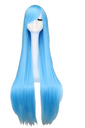 long light blue cosplay wig 2019 - Long Straihgt Cosplay Party Sky Light Blue 40'' 100 Cm Synthetic Hair Wigs