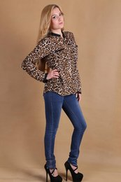 polka dot apparel 2019 - Fashion Blouses Shirts Women Wild Leopard print lady sexy Long-sleeve top Tees shirt loose plus size V neck leopard blou