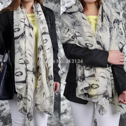 Wholesale-1pc 2015 Women Marilyn Monroe Graffiti Wild Chiffon Shawl Scarf female summer all-match scarf long design Chiffon silk scarf from marilyn monroe shawls manufacturers