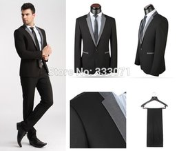 Robes De Mariée Sur Mesure Pas Cher-Vente en gros - sur mesure 2015 Hot Slim fit One Button Groom Tuxedos Best Man Black Light Grey Custom Men Costumes de mariage Veste de robe + pantalons + Cravate