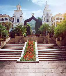 Fondali all'aperto di nozze giardino romantico Edifici bianchi scale di pietra fiori Scenic Photo Booth Sfondi per Studio Picture Shooting