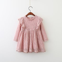 Candy Girl Niños Ropa Baratos-Everweekend Girls Encaje Floral Tassel Ruffles Vestido Lovely Kids Candy Color Ropa Princesa Western Fashion Otoño Party Dress