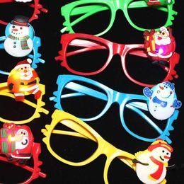 Light up eyes haLLoween online shopping - Christmas Santa Claus Blinking Eyeglasses LED Light Up Flashing Novelty Eyewear Gift Christmas Glow Eye Mask Halloween Q0099
