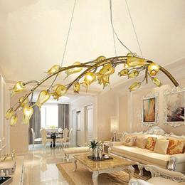American Retro Crystal Pendant Lamp Living Room Restaurant Branch Ceiling Light