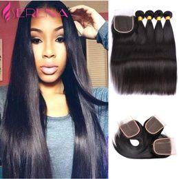 "7a queen brazilian virgin hair 2019 - Queen hair Brazilian Virgin Hair 7A Straight 4""*4"" Lace Closure With 4 Bundles Unprocessed human Remy Hair Ext"