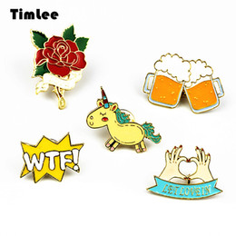 $enCountryForm.capitalKeyWord Canada - Timlee X223 Cute Animals Unicorn Enamel Pin Love Hand Beer WTF Rose Brooch Pins Button Pins Fashion Jewelry Wholesale