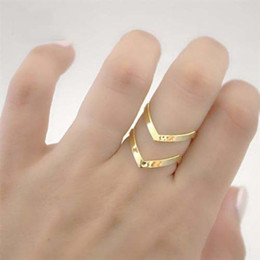 Hot Seeling Fashion Adjustable Double V Triangle Ring Midi Finger Thumb 18KGold Silver Plated For Wife Girlfriend Birthday Gift