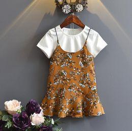 $enCountryForm.capitalKeyWord Canada - Hot Summer Girls Dress Set Baby Kids Cotton Short Sleeve T-shirt + Florals Slip Dress Girl 2pcs Clothing Suit Children Outfits Yellow Green