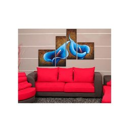 China 100% Hand Painted No Framed 4-piece Hot Sale Blue Big lily Oil Paintings Gift Canvas Wall Art Paintings For Living Room cheap oil art for sale suppliers
