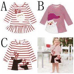 Jupes De Noel Pour Filles Pas Cher-INS XMAS Baby Girls Christmas Deer Party Cosplay Costume Princesa Santa Claus Deer Elk Robe Stripe Jupe à manches longues 1-6 ans expédition gratuite