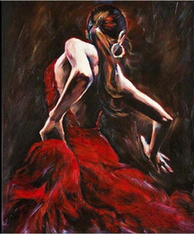 $enCountryForm.capitalKeyWord Canada - hot! Framed Spanish Flamenco Dancer in Red Dress,Hand painted portrait Art Oil Painting On Thick Canvas,Multi sizes available P0032