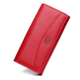 online shopping Qianxilu Quality Genuine Leather Wallets for Women Fashion Long Design Inside Zipper High Capacity ID Credit Card Holder Purses