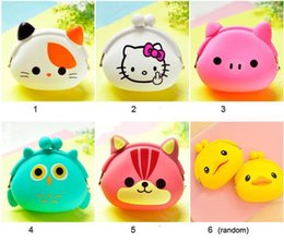 Silicone Wallets Canada - Coin Purses Women Purse for Coins Children's Wallet Kids Wallets Kawaii Xmas Birthday Gift Cartoon Animal Silicone Jelly