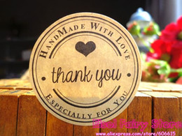 $enCountryForm.capitalKeyWord NZ - 600pcs Round Kraft Seal Sticker, 'Handmade with Love' Thank you Gift Seal Label Sticker For Party Favor Gift Bag Candy Box Decor