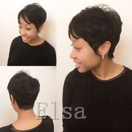 Discount front hair cut indian style - Rihanna Pixie Cut short hair style cuts 7a Brazilian Human Short Hair Bob Wig With Baby Hair Lace Front Wig For Black Wo