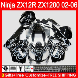 China 8Gifts 23Colors For KAWASAKI NINJA ZX 12 R ZX12R 03 04 05 06 52HM11 white flames ZX1200 C ZX 1200 ZX 12R ZX-12R 2003 2004 2005 2006 Fairing supplier ninja gold suppliers