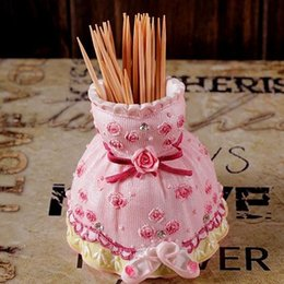 $enCountryForm.capitalKeyWord Canada - Pink Toothpick Box Resin Crafts Table Decoration Skirt Toothpicks Cup Boxes For Home Decor Flower Toothpick Holder