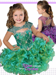 ritzee girls cupcakes NZ - Pageant Dresses for Little Girls Ritzee Cupcake Style B847 with Ruffles Skirt and Cap Sleeves Emerald Baby Party Dress Short