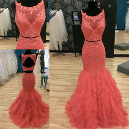 Volantes Vestidos De Fiesta De Color Naranja Baratos-Scoop cuello sin mangas de encaje Appliqued Ruffled Prom vestidos de sirena Long Sweep tren naranja Backless dos piezas de vestidos de noche vestido formal
