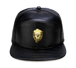 China Metal Gold Lion Head Logo PU Leather Baseball Cap Casual Unisex Belt Buckle Hip Hop Rap 3 Panel Sun Snapback Hats Men Women cheap lions logos suppliers