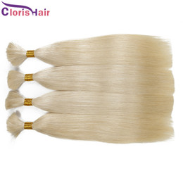 Discount human hair braids Long Straight Blonde Malaysian Bulk Human Hair Extensions Unprocessed 613 Platinum Blonde Human Braiding Hair Bulk No At