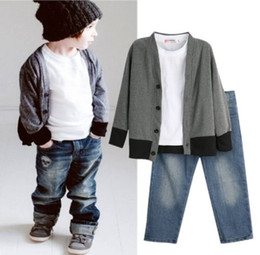 Barato Casaco Do Denim Do Bebé-2017 Hot Selling Fashion Kids Clothing Baby Boys Clothes Top Coat + T-shirt + Denim Pants 3pc Outfits Set 2-7T