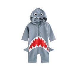 $enCountryForm.capitalKeyWord Australia - Baby Girls boys Shark Hooded Swimwear Infants Swim jumpsuit Beach clothes Hot spring swimsuit for 3-7T A08